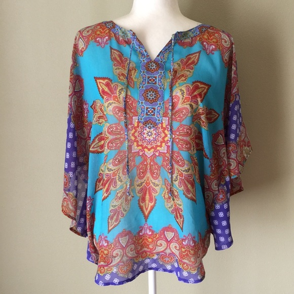 Fig And Flower Tops Patterned Blouse Poshmark